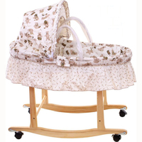 Corn Husks Cradle No Paint Wood Frame Cotton Baby Bassinet with Mosquito Net and mat, Steel frame baby cradle, baby rocking crib