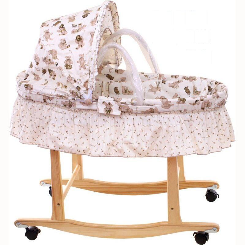 ⑥Maíz Cunas sin pintura madera Marcos algodón bebé cuna con ...