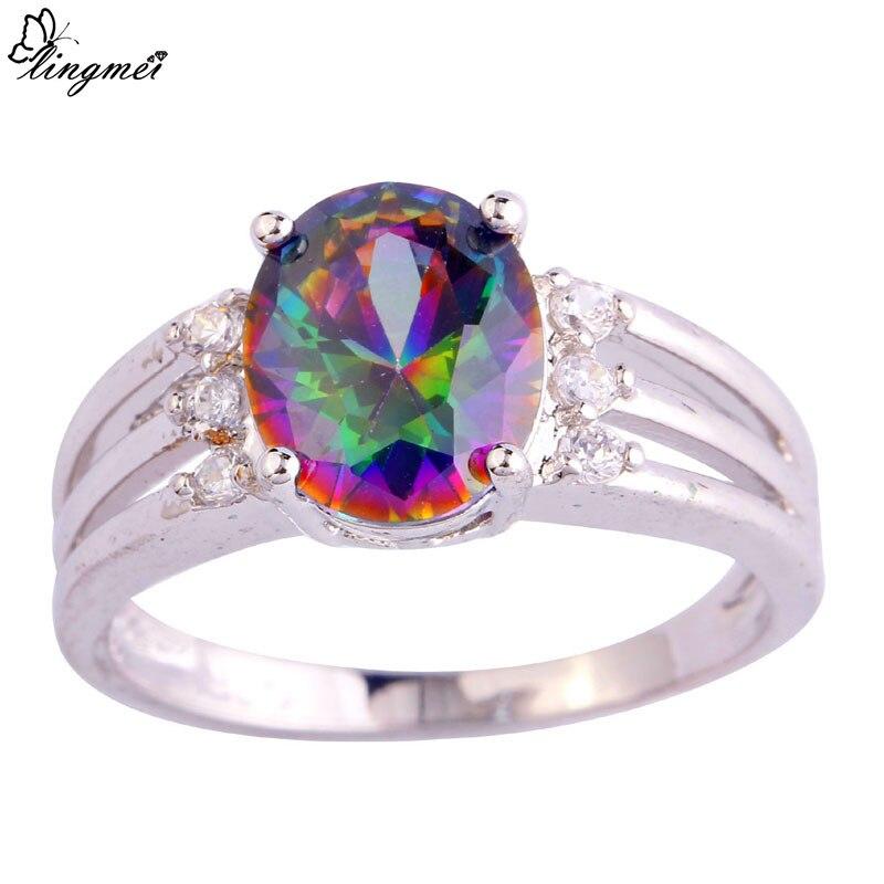 lingmei Wholesale Mystic Rainbow & White CZ Silver Color Ring Size 6 7 8 9 10 11 Fashion Women Facile Design European Jewelry