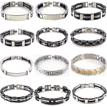 Mens High Quality Stainless Steel Link Chain Bracelet Wristband Bangle 12Styles