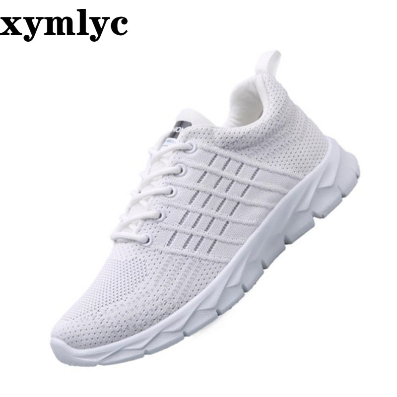 Men 39 s casual sneakers breathable mesh Lace Up running shoes solid color round head slip wear resistant Korean light flat shoes in Men 39 s Casual Shoes from Shoes