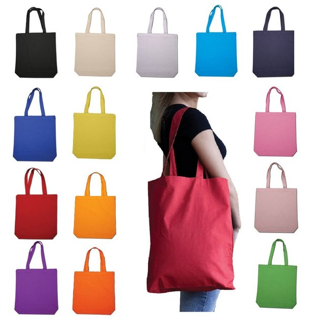 wholesale 500pcs lot Custom printed promotional natural cotton tote canvas  cloth carry shopping bag 5647aacc36