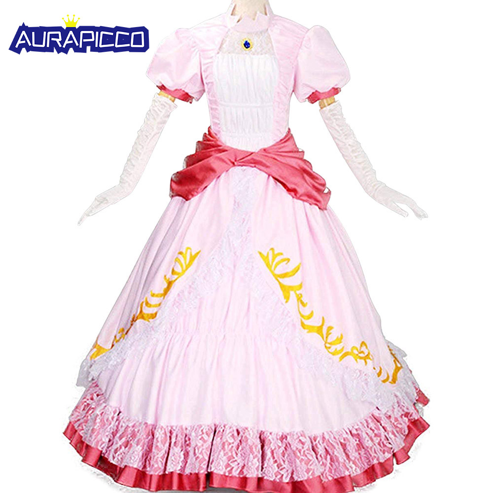 Princess Peach Costume Women Adult Pink Princess Dress Classic Super Mario Brothers Cosplay Fancy Dress Halloween Costumes