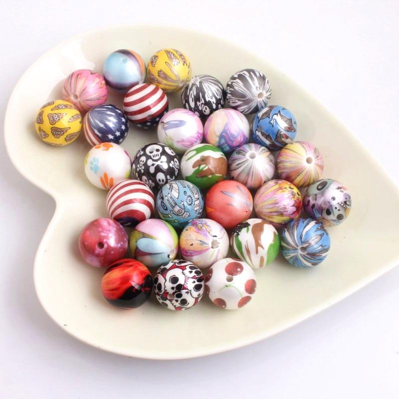Kwoi Vita Mix Colorful Design 20mm 100pcs Chunky Imitation Pearl Print Beads For Kids Fashion Jewelry Necklace.