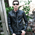 2017 New Men's Black Stand Collar Vintage Leather Jacket Real Cowhide Short Slim Fit Men Winter Popular Biker Coat FREE SHIPPING