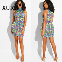 XURU new sexy womens dress hot drilling color Slim zipper bag hip night shop blue orange