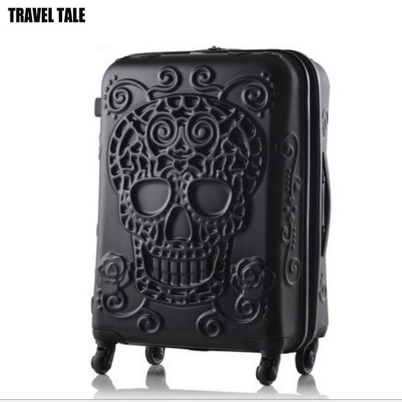 "TRAVEL TALE 2019 ใหม่ skull กระเป๋าเดินทาง 20 ""24"" 28 ""พกพา kinder รถเข็นกระเป๋าเดินทางบนล้อ-ใน กระเป๋าเดินทางแบบลาก จาก สัมภาระและกระเป๋า บน   1"