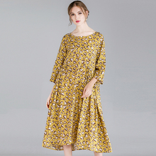 Summer Dresses Female Plus Size 2019 Spring Leopard Casual Print Yellow Chiffon Dress Oversized Lady Fashion Party 4XL