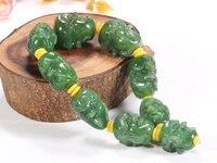 Хотан yu 18 luo han глава строка шпинат зеленый браслет голова Будды мужской и женский ручной резьбой двухсторонний/