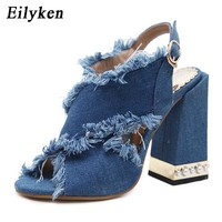 Eilyken 2019 New Gladiator Blue Denim Buckle Strap Women Sandals Heel Pumps Sandals For Women Sandals Size 34 40