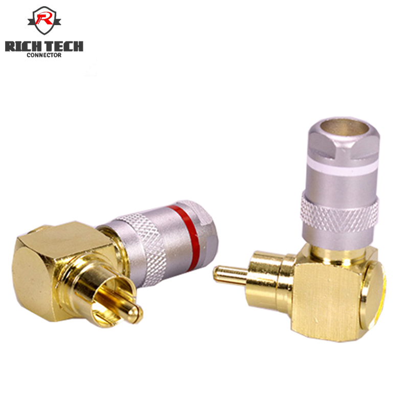 50Pcs Excellent L Type Right Angle RCA Connector Plug Welding-Free RCA AV 90 Degree Plug RCA 4pcs gold plated right angle rca adaptor male to female plug connector 90 degree