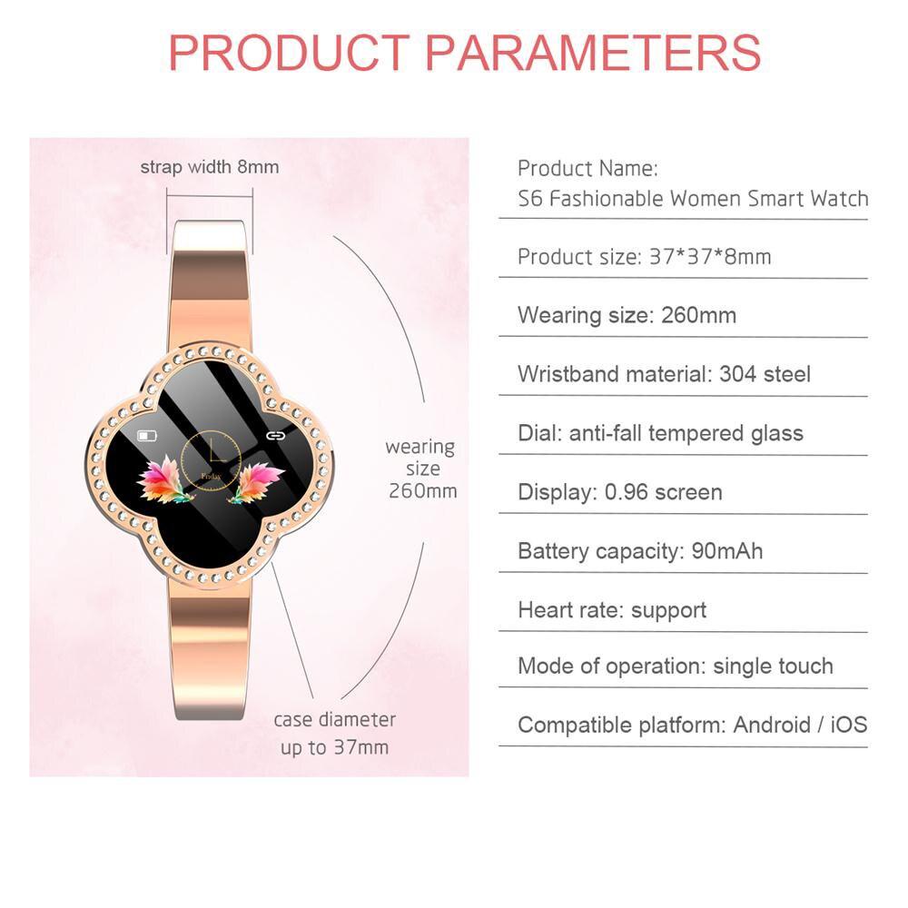 MNWT S6 montre intelligente étanche femmes moniteur de fréquence cardiaque pression artérielle Tracker Fitness Smartwatch Sport montre pour ios android - 6