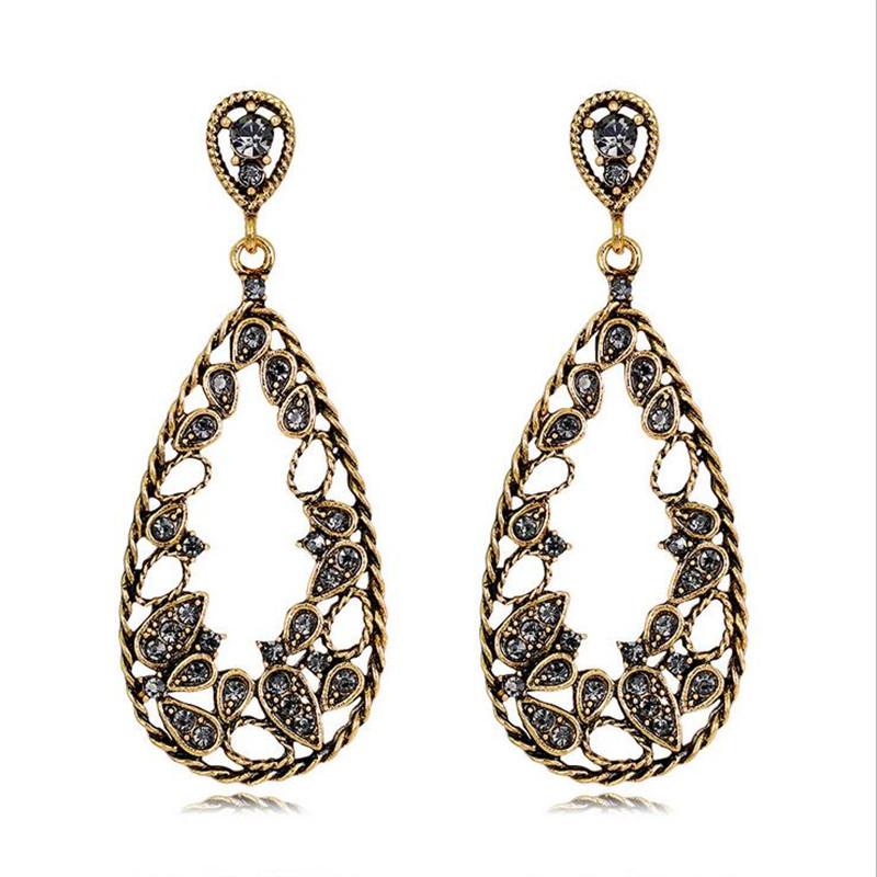 new retro crystal earrings for women personality gold color waterdrop dangle statement vintage jewelry gifts