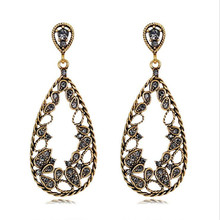 цена на new retro crystal earrings for women personality gold color waterdrop dangle earrings statement vintage jewelry gifts