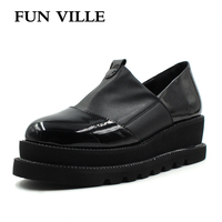 FUN VILLE 2018 New Style Women Flats Spring Summer Flat Platform Casual Shoes Flock Black Round