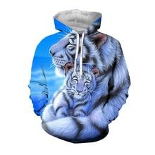 Jumeast White Tiger 3D Print Hoodies Short Sleeve Vests Women/Men Personality Vivid Animal Pattern Sweatshirts Sport Pullover