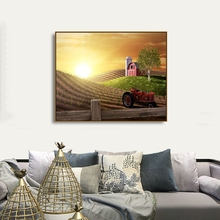 Laeacco Canvas Calligraphy Painting Sunrise Wall Art Farmland Tractor  Posters Prints Home Decoration Living Room Decor