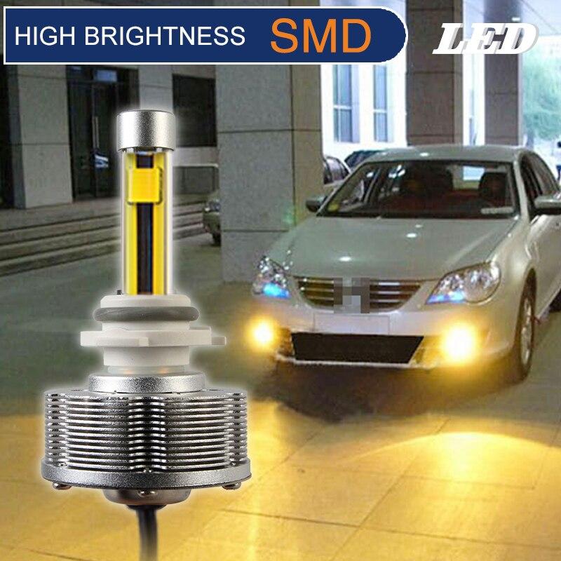 HB3(9005) LED Fog Lamps Cars Bulbs High Brightness 2SMD 3000K 2400LM Golden Light DC10V 40V фотоальбом 100 фото 10 15см ea™ cars 3 lm 4r100 25809