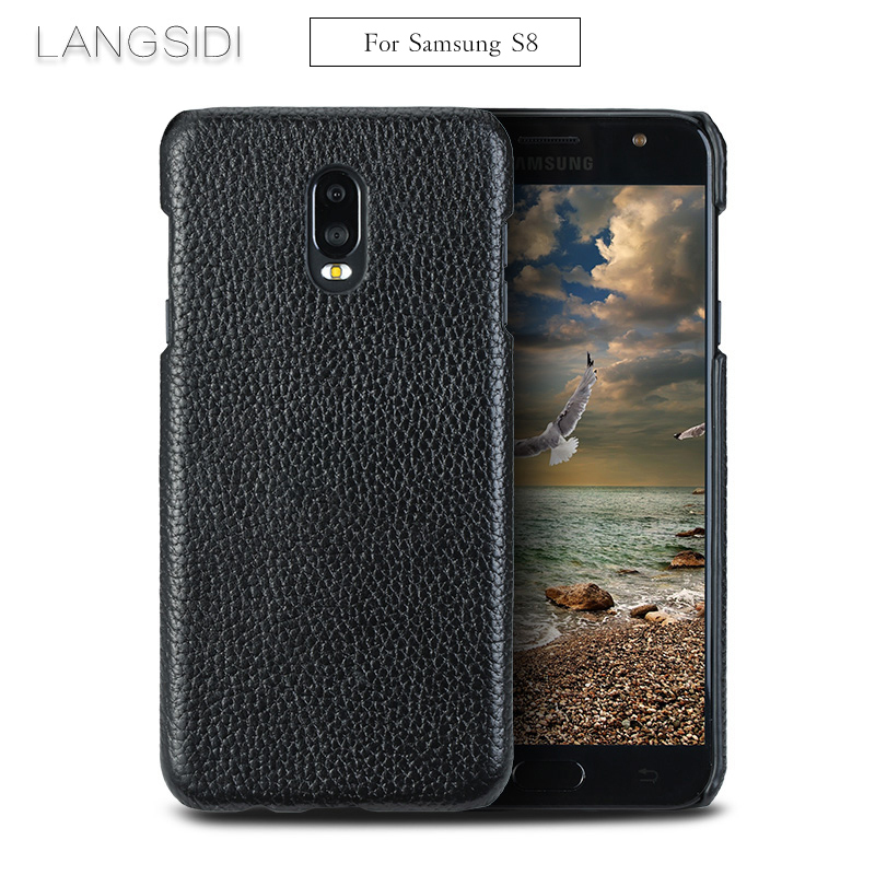 LANGSIDI For Samsung Galaxy S8 phone case real calf leather back cover / Litchi texture case to send 2PCS phone glass steel film