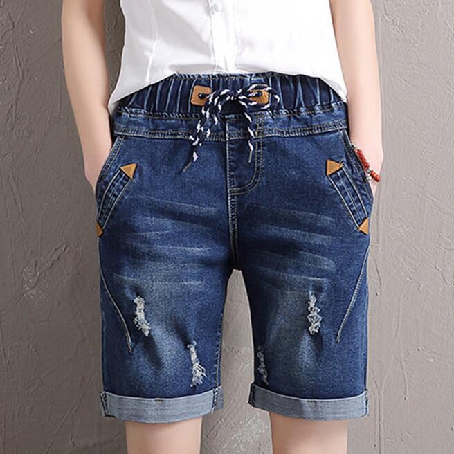 2017 Donne Di Estate Jeans Elastico In Vita Pantaloni A Vita Alta Pantaloni Casual Femminile Sottile Moda Jeans Donna