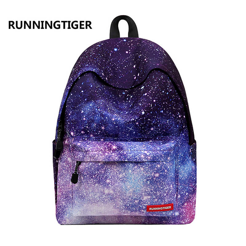 Runningtiger Purple Stars Universe Space Printing Canvas School bags Women  backpack for Teenage Girls Children School be4ad2106046d
