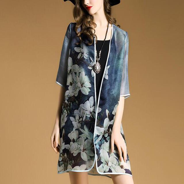 2016 Nuevo Elegante de Primavera y Verano de Las Mujeres chaqueta de Punto de Impresión Más tamaño Suelta Damas Aire acondicionado Camisa Mujer ST073