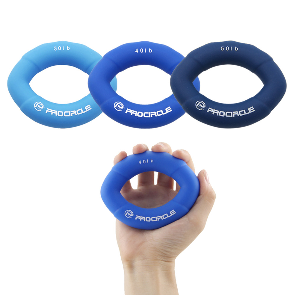 ProCircle Hand Grips Muscle Power Training Green Rubber Ring Exerciser Finger Hand Grip Easy Carry Hand Gripper Gripping Ring