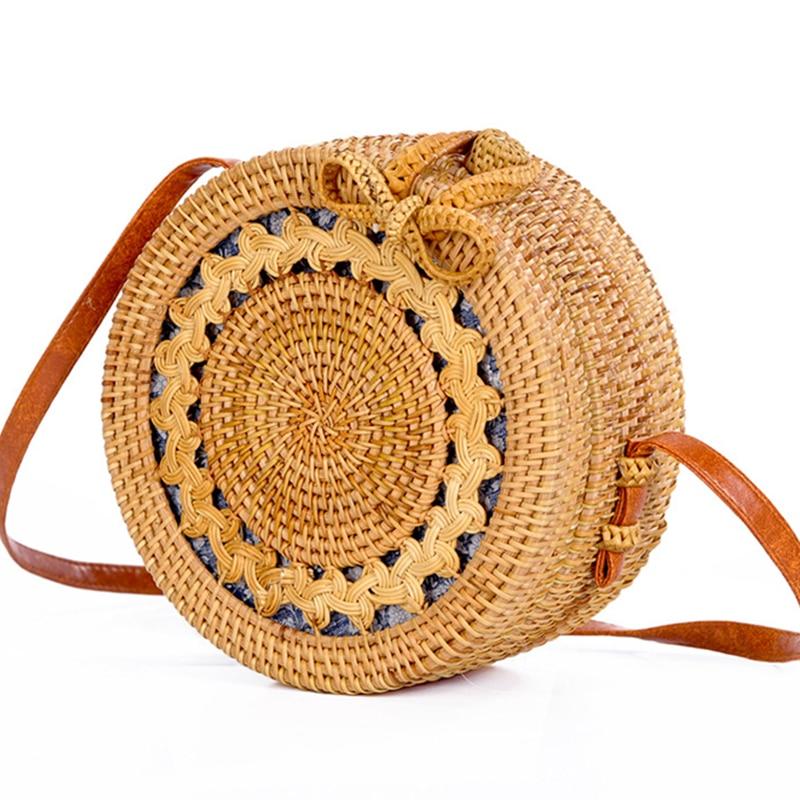 d84d2334a022 2018 летняя пляжная сумка, круглый полый узор плетеная Сумка из ротанга,  бант, сумочка