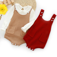 Kids Rompers Knitted Baby Baby-Boys Jumpsuits Overalls Girls Fashion Autumn Pocket Solid