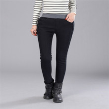 Spring Jeans Women Gold Fleece Inside Warm Jeans Pants Winter Thickening Elastic Waist Pencil Pants Fashion Denim Trousers P8035