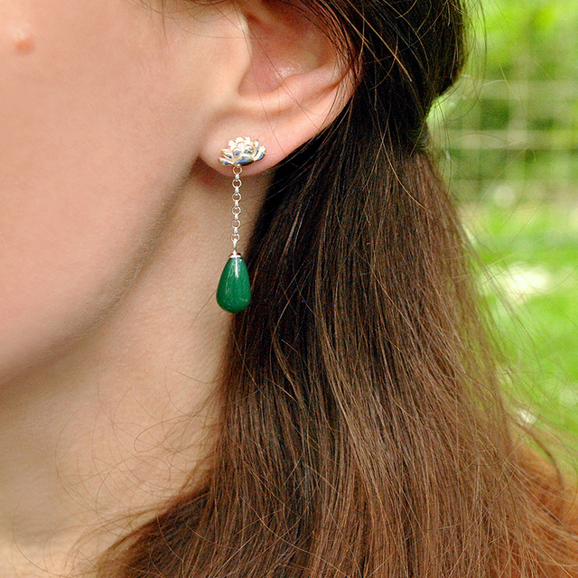 Lotus Fun Real 925 Sterling Silver Natural Agate Creative Handmade Fine Jewelry Water Drop Lotus Drop Earrings for Women Brincos