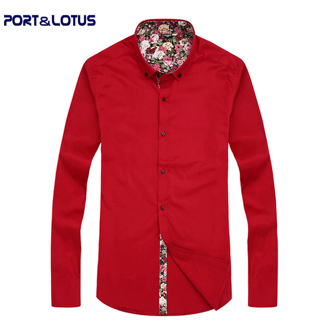 Port&Lotus Men 100%Cotton Dress Shirt Solid Fashion Casual Long Sleeve Inside Printed 167QS Men Clothing chemise homme wholesale