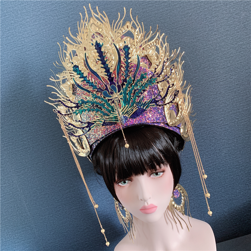 customize women beautiful peacock head wear queen cosplay hat and earring stage performance head ornament beautiful princess hat