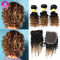 8A Short Peruvian Weave Ombre Human Hair With Closure 3 Bundles Peruvian Deep Wave With Closure Rosa Hair Products
