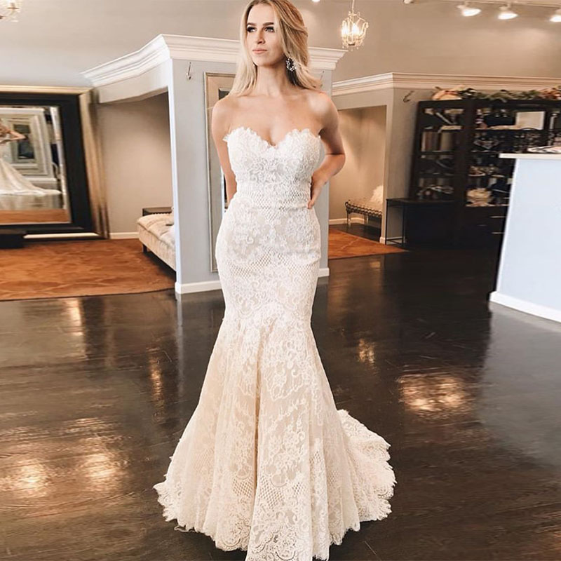 Sweetheart Neckline Lace Mermaid Wedding Dresses New 2019: Amazing Mermaid Lace Wedding Dresses Sweetheart Neckline
