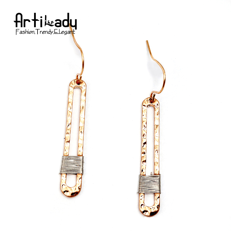 Artilady zinc alloy drop earrings vintage gold color copper delicate long earrings for women jewelry party dropshipping