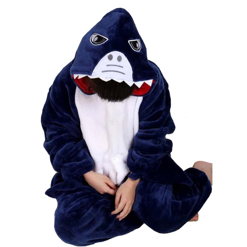 New Children Kids Pajamas Unisex Blue Shark Cosplay Animal Onesie Sleepwear Costume Onesie Nightwear For Boys Grils Men Women