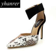 New Women Pointed Toe High Heels Serpentine Patchwork Gladiator Pumps Loops Thin Heels Lady Shoes Heeled 11cm Y118