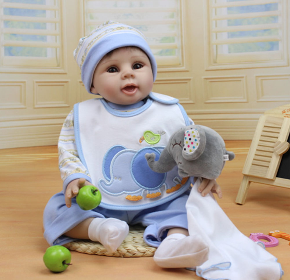 "Buy 22"" Silicone Lifelike Reborn New Baby Boy Alive Realistic Boy Doll Kits Women Treats Nursery Collect Girl Gifts"
