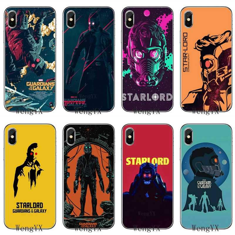 Accesorios funda de teléfono para iPhone X de Apple XR XS Max 8 7 6s 6 plus SE 5S 5c 5 4S 4 guardianes de la galaxia star lord cool