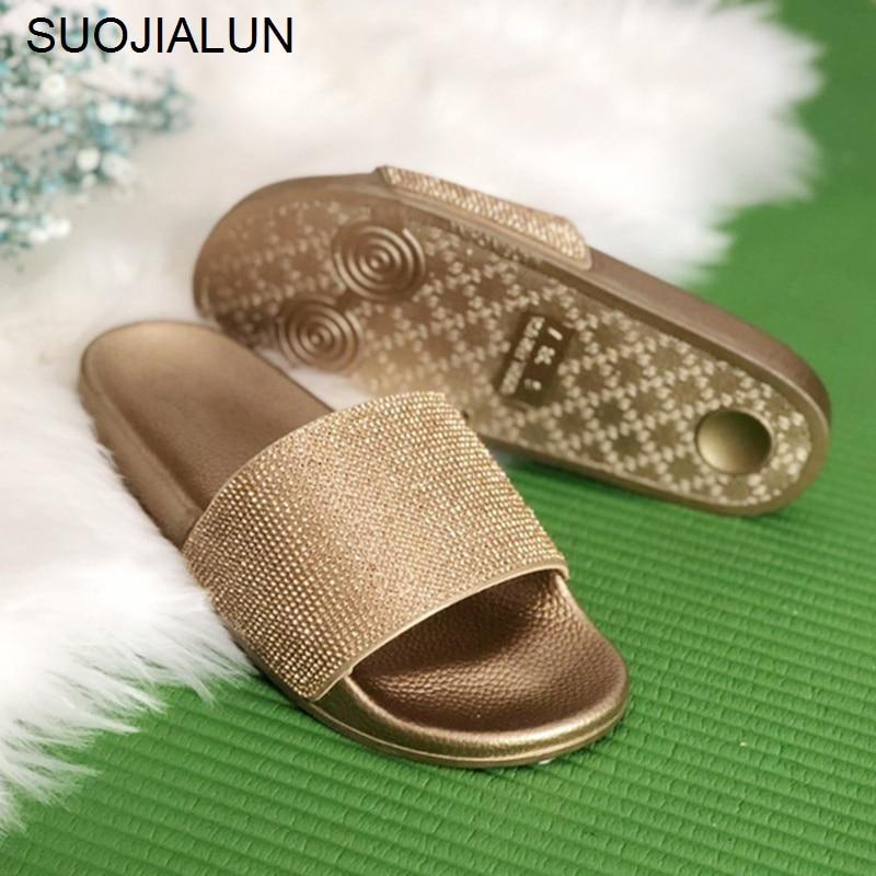SUOJIALUN Women Slippers Flat Women Causal Shoes Flip Flops Beach Slipper Slip On Slides Crystal Sandals Female Brand Slippers