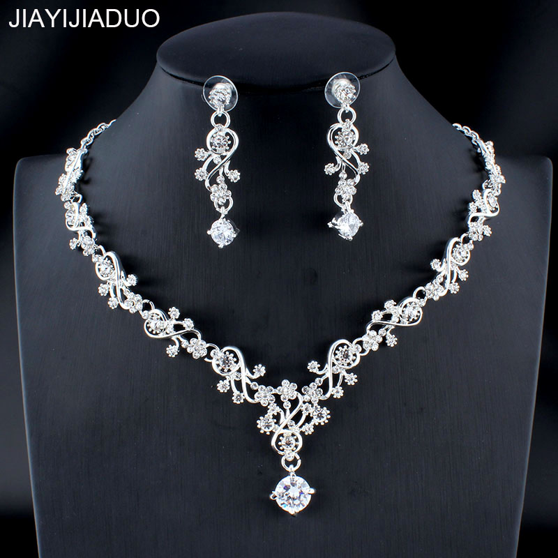 Wedding-Jewelry-Set Accessory Earrings Fine-Necklace Gift Women's Jiayijiaduo Silver/gold-Color title=