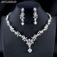 accbb885f150 Jiayijiaduo clásico de las mujeres conjunto de joyería de la boda de  plata color oro