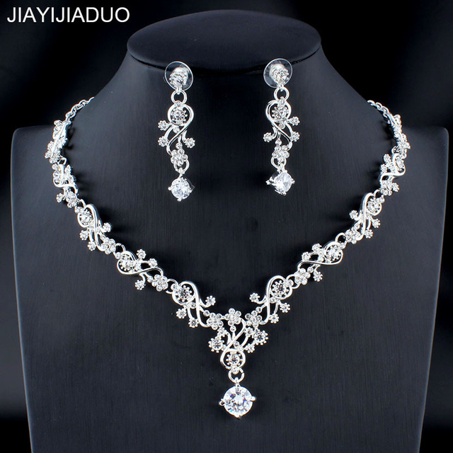 jiayijiaduo Classic women's wedding jewelry set silver / gold color fine necklace earrings accessory gift  dropshipping 2018 new