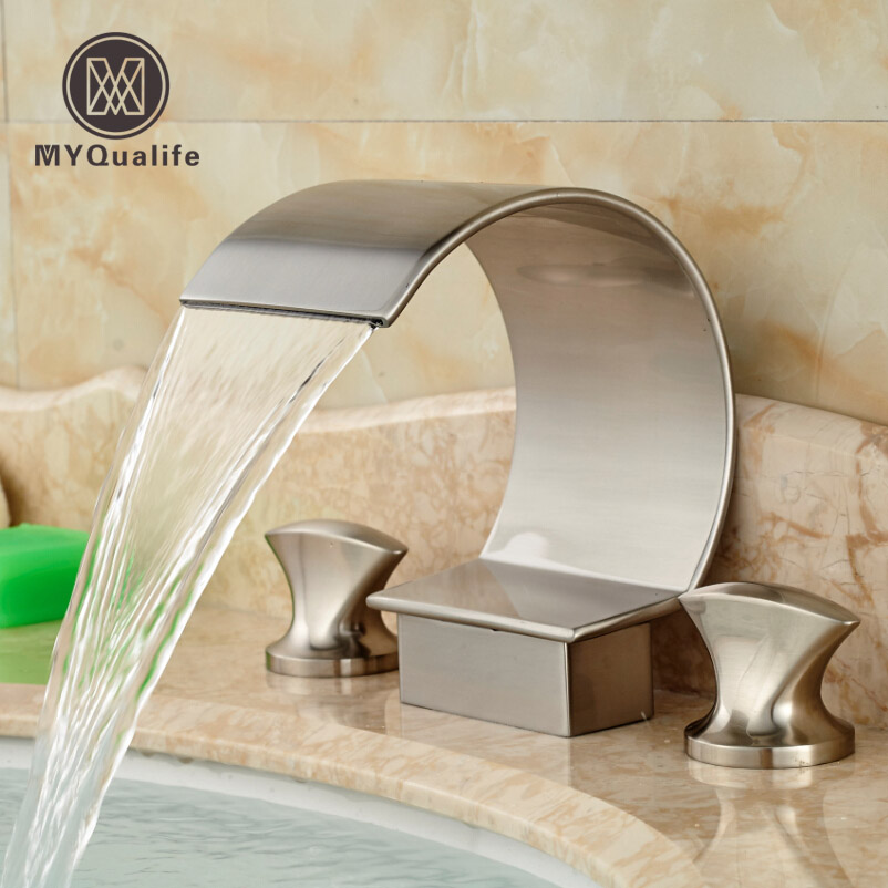 2016 New Nickel Brushed Dual Handles Basin Mixer Faucet Deck Mount 3 Holes Bathroom Sink Hot Cold Water Taps brushed nickel dual crystal handles basin sink faucet deck mount 3 holes bathroom mixer taps