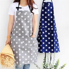 Five-pointed Star Cotton Kitchen Apron with Pocket Halter Bib Baking Cooking Restaurant Chef Waiter Overalls For Women Men