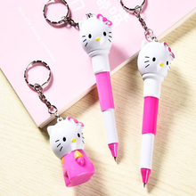 Cute cartoon Hello kitty cat retractable ballpoint pen Children's fun writing stationery gel pen Office signature pen