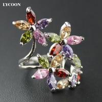 LYCOON nowy elegancki cztery liść kwiat luksusowe pierścionki prong ustawianie kolorowe Marquise Cyrkonia piękne party pierścień dla kobiet