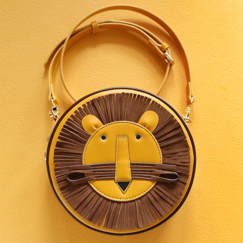Каваи Лев Дизайн Для женщин сумка леди круглый Сумки кисточкой Crossbody Курьерские сумки кожа Для женщин маленький Сумки BOLSOS