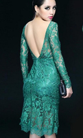 Free Shipping Western Style Sexy High Quality Real Silk Satin Lace Elegant Backless Lace Formal Dress